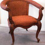 Wicker Chippendale style legs armchair