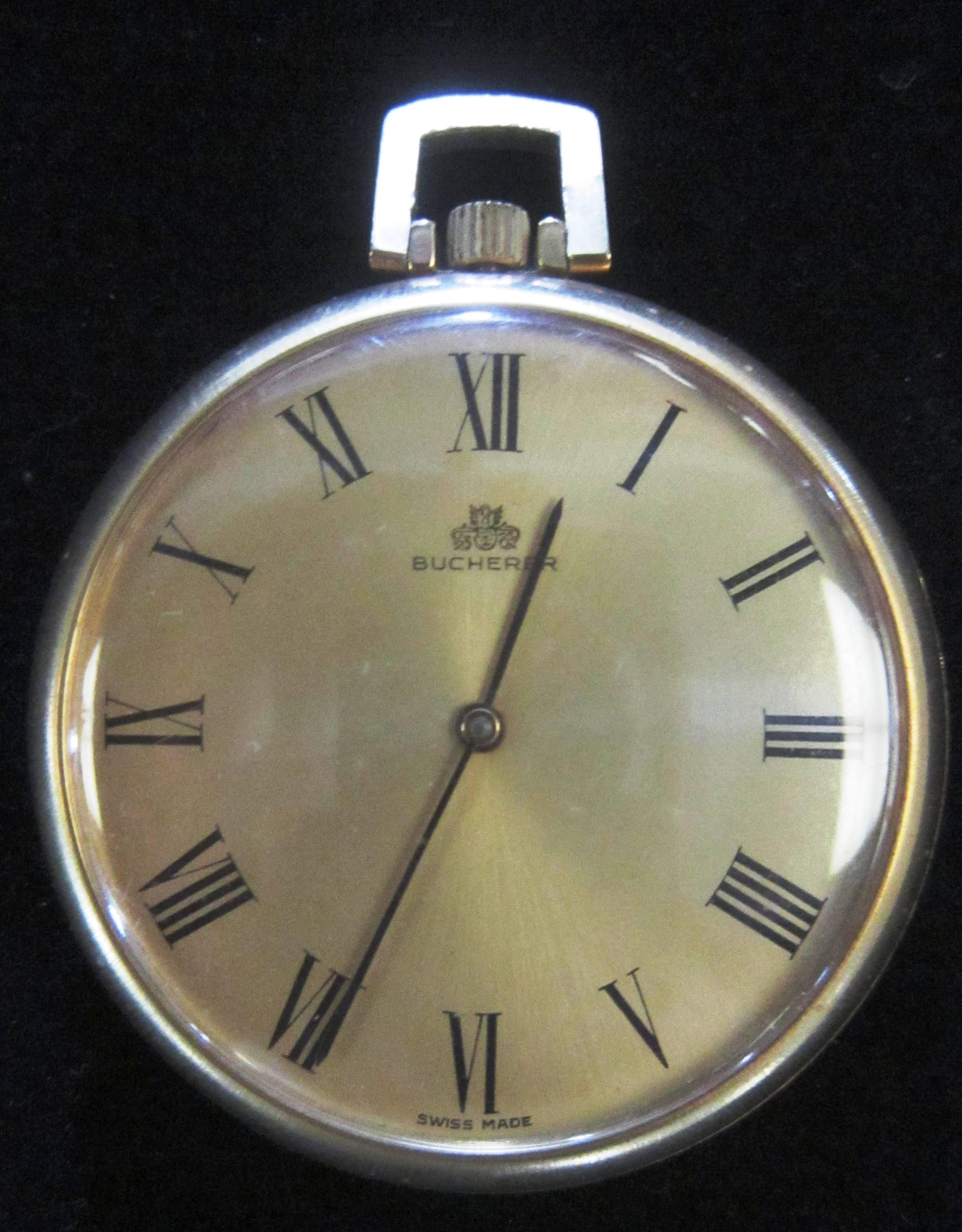 a5dfea717b4a Reloj de bolsillo fino de la casa Carl F. Bucherer 1970 dorado de 17 joyas  cuerda manual esfera de 43mm x 7mm de profundidad en muy buenas condiciones  ...