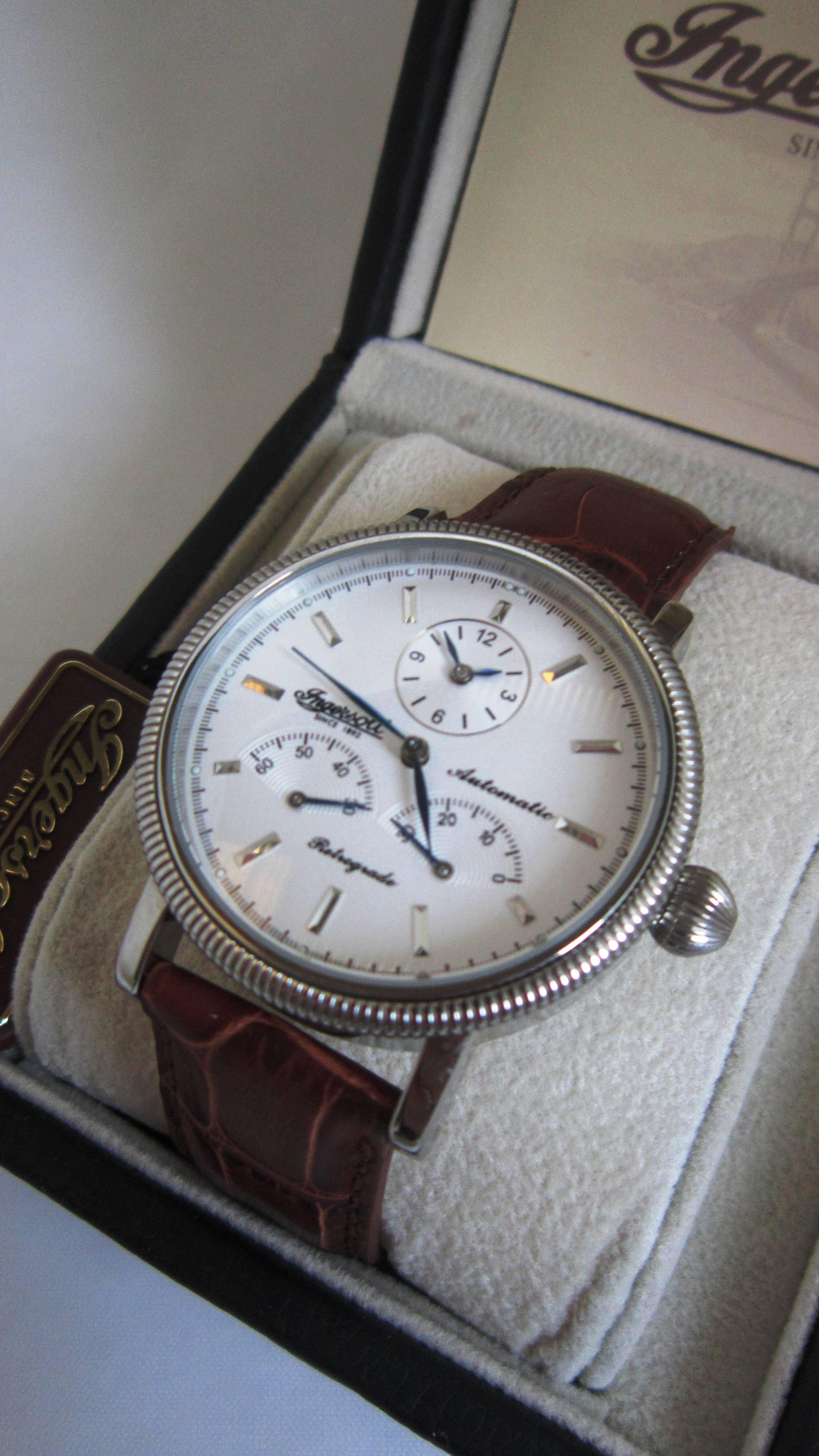 61b6cb021f77 INGERSOLL inoxidable COLORADO IN2600 reloj de edición limitada retrogrado  automático en caja de cuero original. Doble tiempo 35 joyas movimiento  automático ...